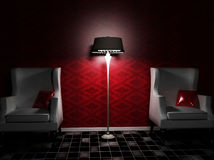 Un interiore piacevole con due poltrone e una lampada Fotografie Stock