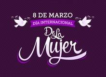 un internacional de la Mujer, traduzione spagnola di 8 de marzo Dia: Giornata internazionale della donna dell'8 marzo illustrazione di stock