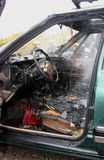 Un intérieur automatique après l'incendie Photos stock