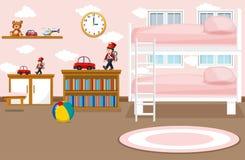 Un intrior del dormitorio de la muchacha ilustración del vector