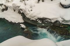 Un inverno in Glacier National Park Fotografie Stock Libere da Diritti