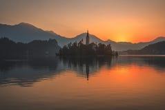 Un'isola con la chiesa in lago sanguinato, Slovenia ad alba Immagine Stock