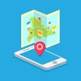 Un itinerario su una mappa sul telefono Fotografia Stock Libera da Diritti