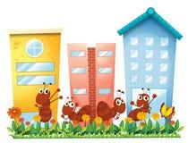 Un jardín con hormigas y una mariposa stock de ilustración