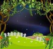 Un jardín hermoso en la noche ilustración del vector