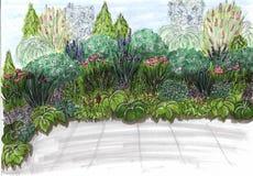 Un jardin d'agrément pour un projet de paysage Fleurs sur le parterre oignon dans une boîte succulents dans un pot, par la route  illustration de vecteur