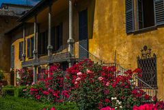Un jardin italien de style classique dans Tirano en italien la Valteline photo stock
