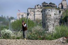 Un jardinier du marché à Istanbul en Turquie images libres de droits
