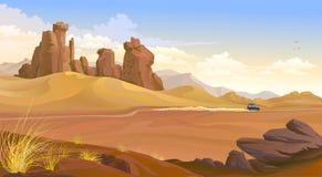Un jeep que viaja a través del desierto ilustración del vector