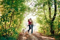 Un jeune ajouter à un chien marchant le long du parc d'automne elle est dans un chandail rouge qu'il est dans le blanc avec un ch Photos stock