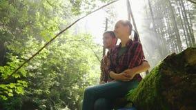Un jeune couple des touristes se repose dans les bois dans un endroit pittoresque Ils sont illuminés par les rayons du soleil rep banque de vidéos