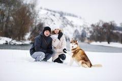 Un jeune couple enceinte marchant dans les bois avec le chien de traîneau rouge de chien Images libres de droits