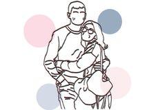 Un jeune couple qui aime illustration de vecteur