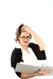 Un jeune femme - des affaires ou l'étudiant sont chargés Photo libre de droits