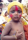 Un jeune garçon dans le festival des vaches-Gaijatra Photographie stock