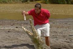 Un jeune homme alimentant un crocodile au rivage d'une rivière en Costa Rica Images libres de droits