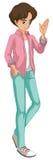 Un jeune homme avec une veste à carreaux Photo stock