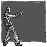 Un jeune homme peint le graffiti avec votre tex illustration libre de droits