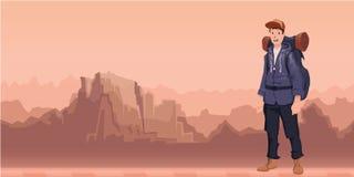 Un jeune homme, randonneur dans le paysage de montagne Randonneur, explorateur Illustration de vecteur avec l'espace de copie illustration de vecteur
