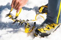 Un jeune randonneur de type habille les crampons s'élevants au-dessus des chaussures d'alpinisme pour marcher par le glacier images libres de droits