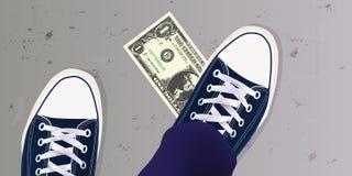 Un jeune a trouvé un billet d'un dollar au sol et a mis son pied dessus illustration de vecteur