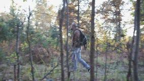 Un jeune type, un homme marche par les bois et apprécie le paysage d'automne clips vidéos