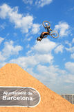 Un jinete profesional en la competencia de MTB (montaña Biking) Foto de archivo libre de regalías