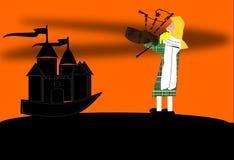 Un joueur de cornemuse devant un château Images stock