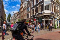 Un jour beau à Amsterdam romantique, les Pays-Bas Photo stock