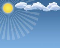 Un jour du soleil, nuages, est en ciel bleu illustration stock