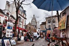 Un jour nuageux dans Mont-Martre Photo stock