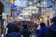 Un jour occupé sur l'avenue d'Istiklal Photo libre de droits