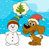 Un joyeux chiot et un rêve de bonhomme de neige d'un arbre de Noël Image libre de droits