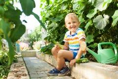 Un joyeux garçon bronzé, un homme blond recueille et mange les concombres verts Photos libres de droits