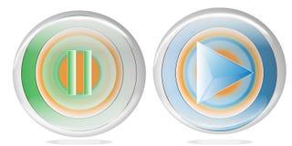 Un juego de la música y botones de pausa con dos colores para el web o el uso del ordenador Imágenes de archivo libres de regalías