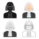 Un juez en una peluca y vidrios Una persona que hace un veredicto a un criminal Solo icono de la prisión en vector del estilo de  ilustración del vector