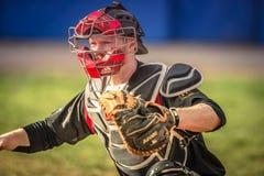 Un jugador de béisbol en la recepción Fotos de archivo libres de regalías