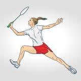 Un jugador profesional femenino del bádminton Foto de archivo libre de regalías