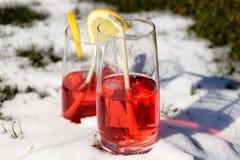 Un jugo de la fresa en pequeño vidrio en la colina de la nieve para enfriarse y alista para borracho Foto de archivo