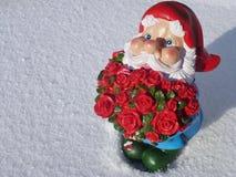 Un kobold avec des fleurs en hiver Photos stock