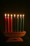 Un Kwanzaa Kinara Foto de archivo libre de regalías