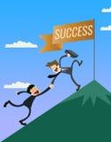 Un líder ayuda a la persona a alcanzar éxito Imagen de archivo