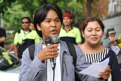 Protesta de los trabajadores Imagen de archivo libre de regalías