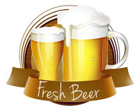 Un label frais de bière avec un broc et un verre de bière illustration stock