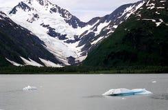 Un lac congelé avec la neige magnifique a couvert des montagnes images libres de droits