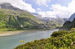 Un lago alpino del ghiacciaio della montagna nella montagna della Svizzera Fotografia Stock