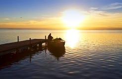 Un lago con il embaracadero Fotografia Stock Libera da Diritti