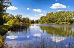 Un lago del parco nazionale Vienna di Danubio-Auen Fotografia Stock Libera da Diritti