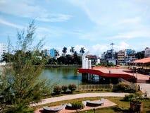 Un lago di seduta del parco fotografia stock libera da diritti
