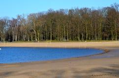 Un lago e una spiaggia Fotografie Stock Libere da Diritti